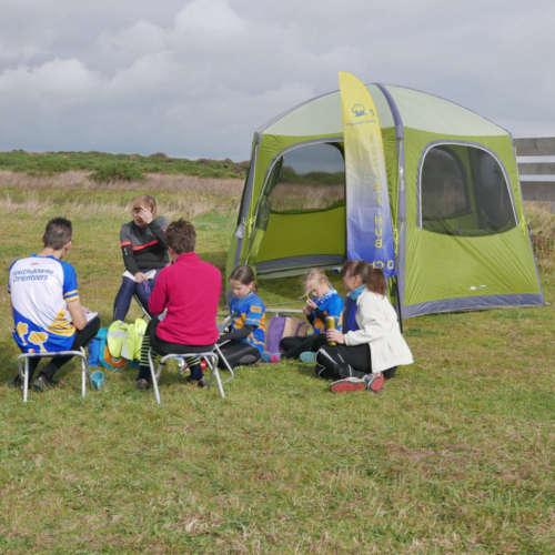 Post-run Chat at the Hub Tent