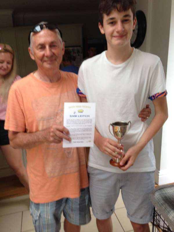 Sam Leitch being presented the Ricky Wise Trophy by Les Coles, winner of the SOOTY